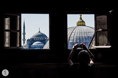 Istanbul, Turkey (Katja Pavlovic) Tags: trip travel blue roof boy vacation man reflection male church window museum contrast turkey photography nikon europe view religion picture istanbul mosque frame framing sophia haghia muzej