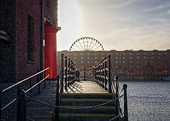 Into the light (Bev Goodwin) Tags: uk greatbritain light england urban liverpool sunrise albertdock echowheel sonyslta65v