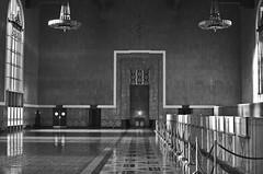Union Station (Leo_Serrano) Tags: old blackandwhite beautiful architecture 35mm losangeles nikon symmetry line trainstation nikkor unionstation d5100
