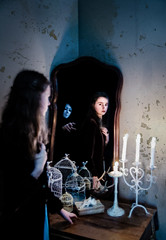 Night Terrors (LornaTaylor) Tags: caitlin lornataylor nikon taylorimagesca copyrightedlornataylor2015 model naturallight fear night nightterrors mask maskedfigure girl candles perfectphotosuite ononesoftware perfecteffects9 darkfairytale fairytale story conceptual lornataylorphotography