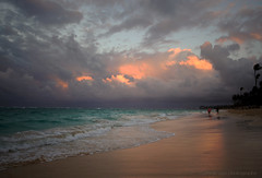 ... at sunset (mariola aga) Tags: ocean sunset sky beach wet water colors clouds sand waves dominicanrepublic shoreline wideangle palmtrees atlanticocean puntacana bavaro sigma1020mm thegalaxy