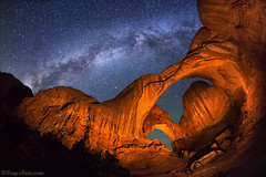 "Triple Arch (IronRodArt - Royce Bair (""Star Shooter"")) Tags: nightphotography lightpainting stars nightscape nightsky archesnationalpark universe milkyway doublearch starrynightsky"