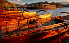 Golden Boats at Dusk (Dave Massey Photography) Tags: red lake boats golden evening dusk lakedistrict cumbria derwentwater rowboats