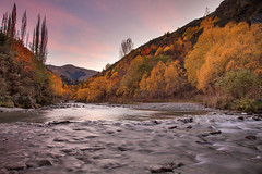 Arrow River Sunrise || ARROWTOWN || NZ (rhyspope) Tags: new morning autumn trees pope color colour fall nature water creek forest sunrise canon river woods stream zealand nz 5d arrow rhys arrowtown mkii rhyspope
