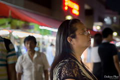 Night thoughts (gunman47) Tags: street people woman field night asian photography 50mm eyes singapore asia thought tea bokeh f14 candid albert deep east changer stop bubble shallow moment friday sg depth bugis decisive