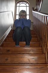 128/365 Grump ! (NSJW photos) Tags: wood light house me window lady female stairs wooden sitting steps may sat grumpy grump halfway selfie 128 2016 128365 365selfies nsjwphotos 1283652016