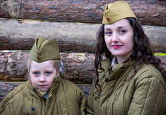 / Photosession in the entourage of the World War II (Abs0lute2010) Tags: wood woman girl soldier wooden war child russia wwii victory bunker jacket siberia warrior pea ussr tomsk foragecap