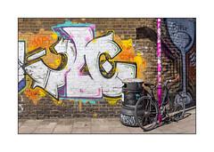 Graffiti (Cave), East London, England. (Joseph O'Malley64) Tags: uk greatbritain england streetart london bike wall graffiti mural paint britain pavement spray cycle british cave fixie signpost walls cans aerosol edwin brickwork eastend eastlondon rubbishbin wallmural pushbike muralist victorianstructure