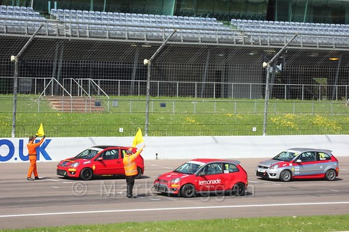 The start of the Fiesta Junior Race during the BRSCC Weekend at Rockingham, May 2016