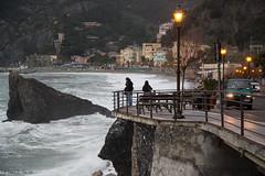 Monterosso-Fegina at Dusk (cheryl strahl) Tags: italy coast town seaside europe village waterfront streetlights walkway cinqueterre newtown monterosso liguriansea monterossoalmare fegina italianriveria