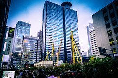 138/366 : Heavy Machinery (hidesax) Tags: street leica green yellow japan tokyo shinjuku skyscrapers dusk x walls heavymachinery vario 365project 366project 138366 hidesax 366project2016