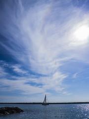 Lone Sailboat (Sareli0514) Tags: ocean ca beach clouds socal southerncalifornia orangecounty oc coronadelmar piratescove southcounty