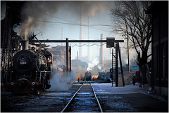 At the Depot (Welsh Gold) Tags: china morning steam depot province locomotives preparations sy liaoning fuxin