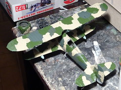"1:72 Henschel Hs 123 A-1 trop; ""T6+DP"" of VI./2. StG, Deutsche Luftwaffe, Tmimi (Libya), July 1941 (Whif/modified Airfix kit) - WiP (dizzyfugu) Tags: africa black night sand desert conversion nacht aircraft aviation north attack 123 battle el afrika a1 stg trop nord hs wste 172 fictional airfix korps whatif modellbau libyen rlm liby alamein whif henschel schlachtflieger dizzyfugu"