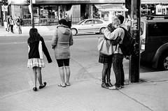 au coin de la rue (gguillaumee) Tags: street leica people blackandwhite bw love film analog hug couple mtl montreal candid grain streetphotography embrace summicron50mm