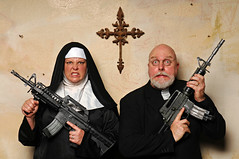 Sister Signorella del Luca and Father Benedict prepare to defend the Cross of San Marcus de Gallo from Sectioning (Studio d'Xavier) Tags: cross nun priest 365 crosssections werehere nunswithguns 158366 june62016
