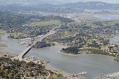 Aerial view of  Richardson Bay and Highway 101, Marin County, California (cocoi_m) Tags: california aerial marincounty sanrafael highway101 larkspur richardsonbay cortemadera aerialphotograph marincity
