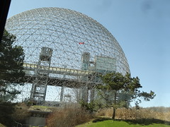 Montreal. The biosphere or biodome. Contains plants from the tropics to the Quebec forests. (denisbin) Tags: bridge church skyline catholic montreal biosphere dome racoon olympicstadium olympicpark oratoirestjoseph parcdumontroyal parcolympique mountroyalpark staqdeolympique