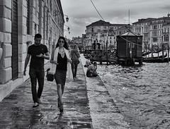 in her wake (littletinperson) Tags: street venice blackandwhite bw italy monochrome italia bn venezia dorsoduro puntadelladogana littletinperson inherwake