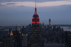 The Empire State Building a little darker and a little redder (Hazboy) Tags: new york city nyc usa ny building apple rock skyline america square us big state manhattan may center midtown empire times rockefeller 2016 hazboy hazboy1