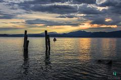 Minimal sunset (Elisa.95) Tags: wood sunset sky italy sunlight lake water yellow clouds wow reflections amazing garda barca bright minimal pali trentino explored