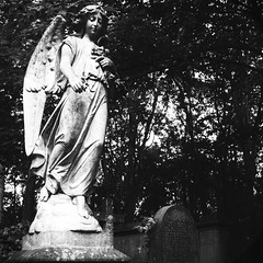 Watching Over (Fourteenfoottiger) Tags: blackandwhite london abandoned overgrown cemetery grave graveyard statue fiji angel contrast religious hope wings ruins heaven peace headstone faith religion pray praying tomb gothic watching victorian wideangle angels churchyard salvation derelict statuesque fujixt1