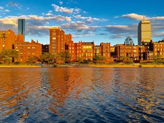 Back Bay Brownstones at Golden Hour ((Jessica)) Tags: sunset sky brick water boston architecture clouds skyscrapers massachusetts newengland lagoon esplanade backbay goldenhour oldandnew pw iphone