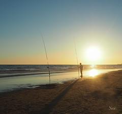 Pescador (nO_VR) Tags: sunset sea sun sol beach contraluz atardecer mar photo fishing fisherman picture playa olympus fisher postal pcheur sonne fischer pescador caa pescar gne solpor arrantzale balk   olympusomd olympusomdem5markii