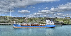 OIL (conespider) Tags: sea water wales clouds port dock nikon ship outdoor hill oil oxfordshire tanker windpower 2016