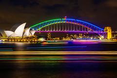 Vivid Sydney 2016 (Kokkai Ng) Tags: vivid sydney 2016 harbour bridge light trail boat opera house macquaries chair mrs city