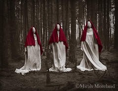Unholy Trinity (micahmoreland) Tags: red abandoned film strange mystery sepia forest movie three costume scary woods funny mood moody surrealism dream surreal nun cheeky creepy cover blanket mysterious horror sheet isolation nightmare disturbing derelict atmopsheric horrorsurrealism
