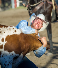 A Battle of Wills (D.Spence Photography) Tags: horses people canada animals danger outside cowboy pentax outdoor country lifestyle bulls western cowgirl prairies extremesport determination 2016 innisfailprorodeo