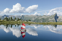 Lago Starlaresc (p a r i d e d) Tags: reflection water clouds sailboat switzerland cloudy sail alpinelake mountainlake verzasca verzascatal starlaresc
