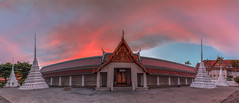 Temples at Dawn (Jerry Fryer) Tags: panorama architecture clouds sunrise thailand temple dawn cityscape bangkok goldenmount 6d ef1635mmf4l