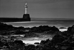 Aberdeen Harbour South Breakwater (PeskyMesky) Tags: longexposure sea blackandwhite bw monochrome rock canon landscape scotland blackwhite outdoor pov pointofview aberdeen le northsea aberdeenharbour northeastscotland canoneos500d southbreakwater
