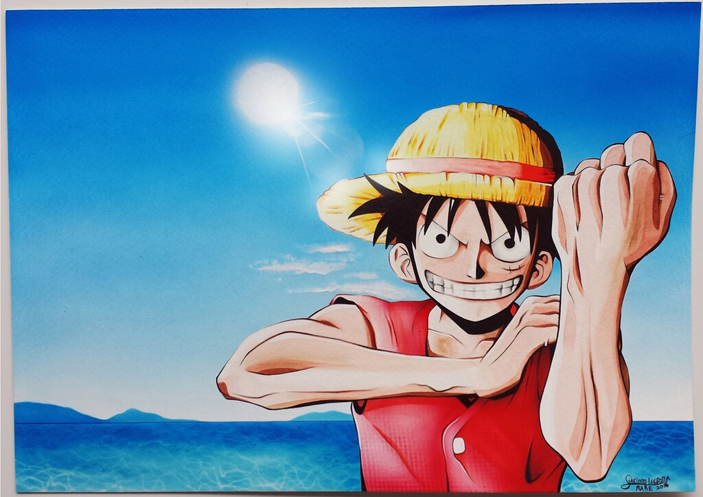 One piece (watercolor drawing) (RARE81) Tags  monkeydrufy onepiece sea  watercolor drawing 8b37a5a11956
