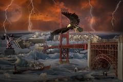 Post Human Race? (brian_stoddart) Tags: texture surreal animals bridge ice iceland sky end