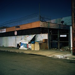 Cardboard home (ADMurr) Tags: la dtla project homeless night rolleiflex planar kodak ektar film 6x6 square mf