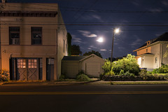 Sixth Street (Curtis Gregory Perry) Tags: street city longexposure moon house building night oregon nikon stevens full sixth crawford 6th d800e