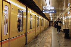 platform 2 for Tawaramachi.... (peet-astn) Tags: asakusa tawaramachi 2 japan tube underground station train platform yellow