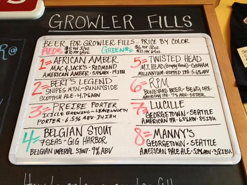 Beer for growler fills, Thursday 5/9/2013 4:15PM