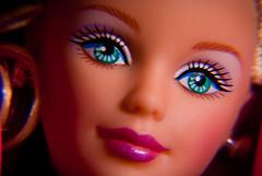 Barbie 1998 closeup head up tilt (No Talent Bum) Tags: toys nc nikon barbie northcarolina greensboro closeups greensboronorthcarolina greensboronc holidaybarbie nikond40x d40x nikonafs55300mmf4556gedvr nikkor55300mmafsdxlens holidaybarbie1998edition