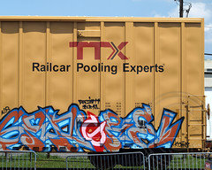 Graffiti on Freight Railroad Car, Liberty State Park, Jersey City, New Jersey (jag9889) Tags: railroad streetart art car work graffiti newjersey jerseycity nj rail hudsonriver freight libertystatepark lsp hudsoncounty