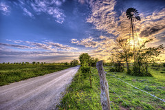 Back Roads (countryphotoguy) Tags: sunset sky windmill clouds fence landscape fineart countryroad countryimagesus