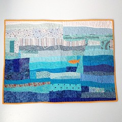Just finished binding this morning and couldn't wait to hang in the #nursery .. #gonefishing #artquilt This is the first art quilt I completely pieced rather than appliqu.. (AllThingsBelle) Tags: modern fishing goldfish nursery improv textileart artquilt pieced