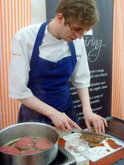 From the Butchery Demonstration at the show (Tony Worrall Foto) Tags: show uk red england food man celebrity cooking fun demo northwest cut north cook restaurants stall meat steam lancashire event butcher chef chop produce clice reviews eatingout serve asl chefs lancs foodphotography celebritychefs nigelhaworthsfantasticfoodshow lancashirefoodfestival 2013tonyworrall