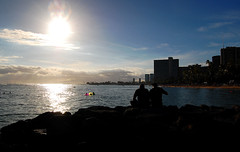 Super Nova (jcc55883) Tags: ocean sunset sky silhouette clouds hawaii nikon waikiki oahu horizon pacificocean yabbadabbadoo d40 nikond40 ftderussybeach