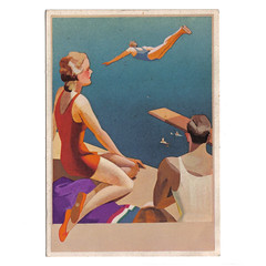 Postcard advertising Superga latex shoes (Wooden donkey) Tags: art swimming advertising 1930s italian shoes postcard latex artdeco swimsuit superga swimmingcostume