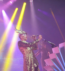 (goatling) Tags: music sun chicago dance costume dancing song stage band dancer sing empire sound instrument alive mic songs sounds intergalactic aragonballroom electropop headpiece empireofthesun lukesteele eots velvetgold emperorsteele iceonthedune eots2013