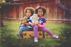 (Krista Cordova Photography) Tags: fall kids children sister brother brotherandsister suitcase teddybears greengrass cutekids sisterandbrother hispanicchildren africanamericanchildren